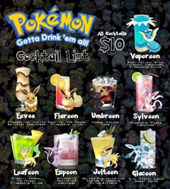 The Pokemon Cocktail List - simple cocktails with their name changed !